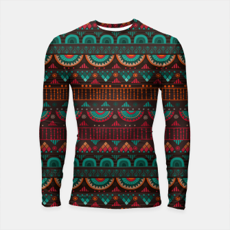 Thumbnail image of Tribal Pattern - 14 Red Green Longsleeve rashguard , Live Heroes
