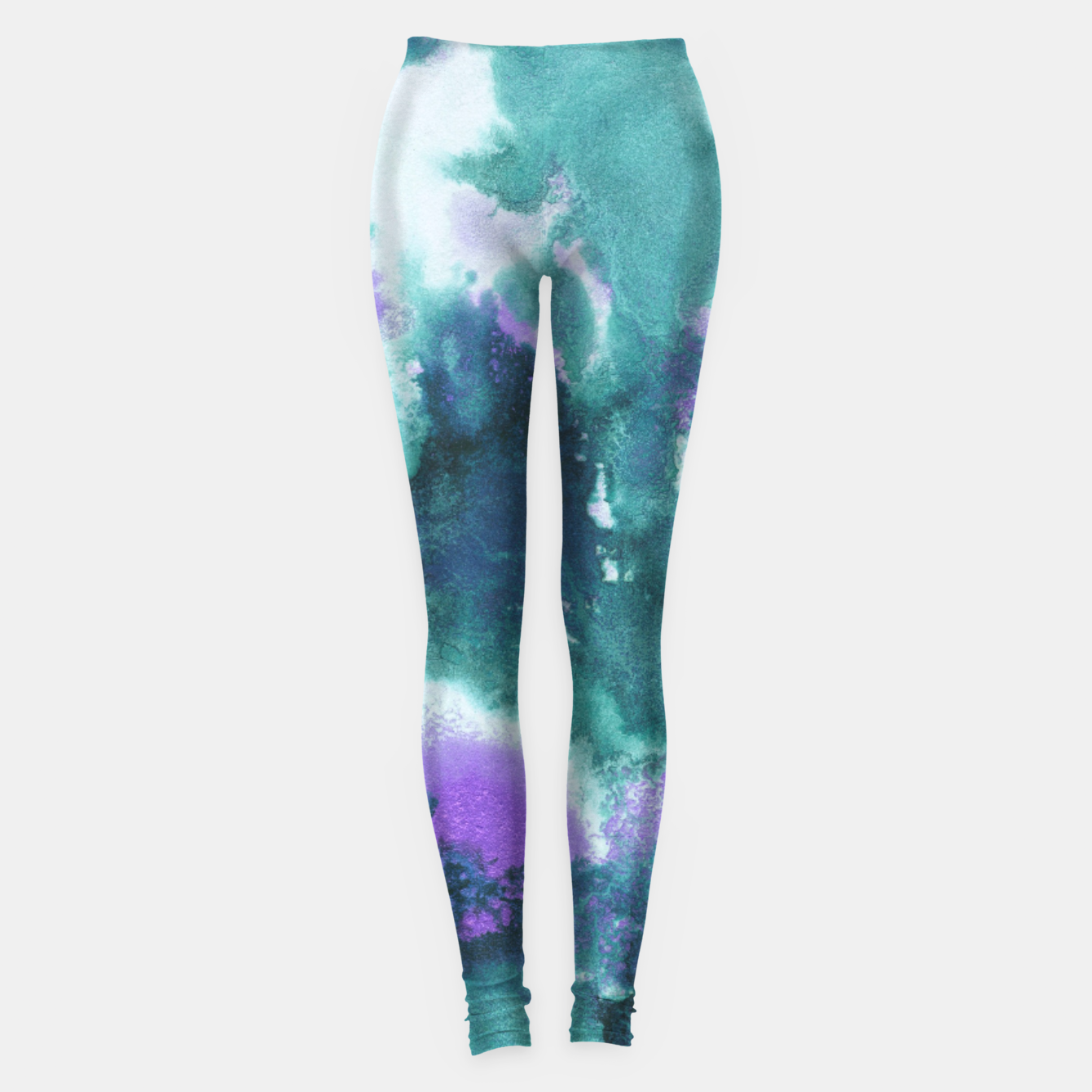 Zdjęcie Teal Purple Mermaid Ocean Abstract Painting #1 #ink #decor #art  Leggings - Live Heroes