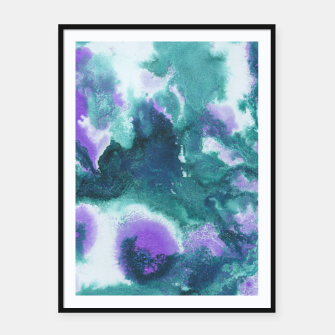 Teal Purple Mermaid Ocean Abstract Painting #1 #ink #decor #art  Plakat mit rahmen obraz miniatury