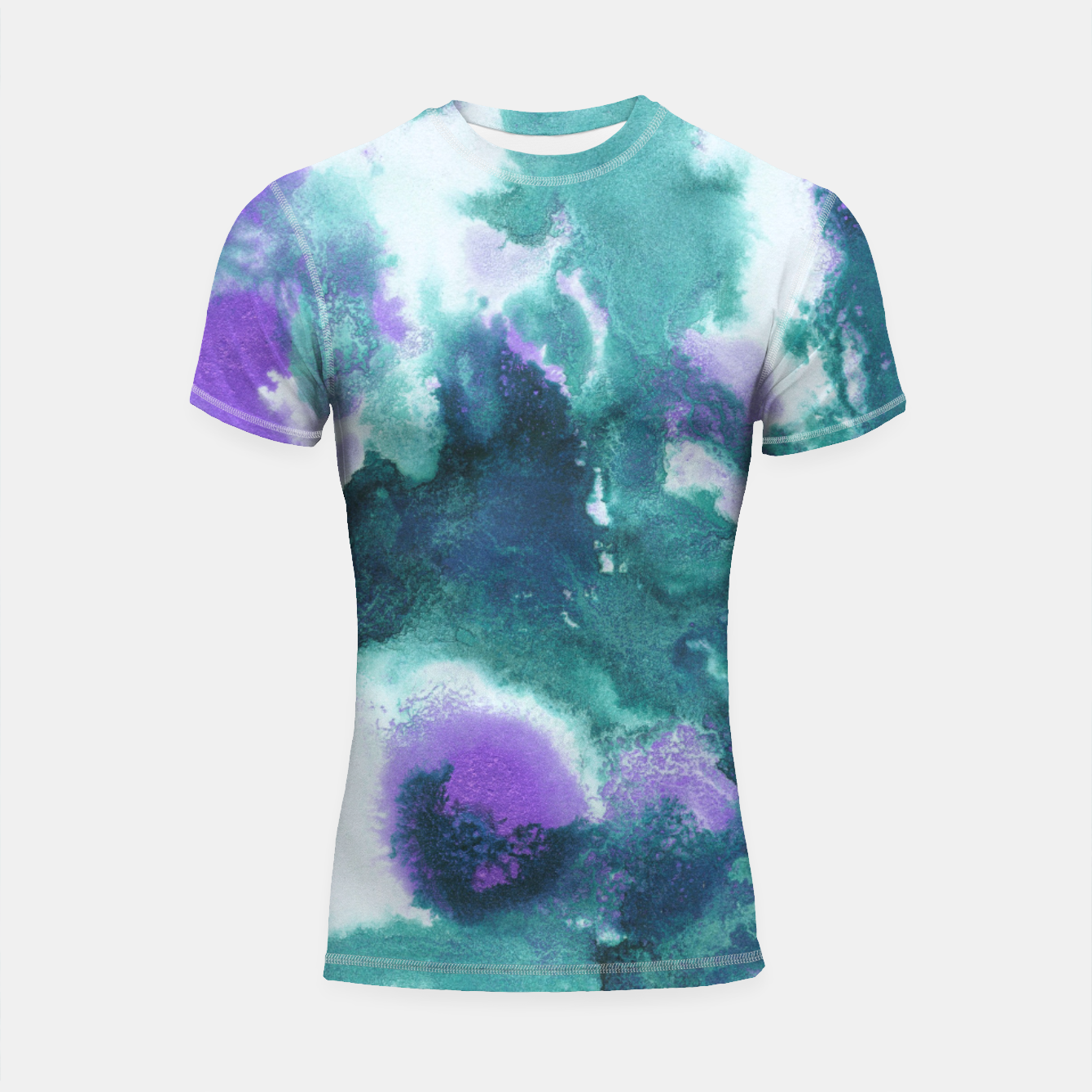Zdjęcie Teal Purple Mermaid Ocean Abstract Painting #1 #ink #decor #art  Shortsleeve rashguard - Live Heroes