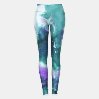 Teal Purple Mermaid Ocean Abstract Painting #1 #ink #decor #art  Leggings obraz miniatury