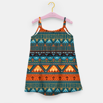 Thumbnail image of Tribal Pattern - 15 Orange Blue Girl's dress, Live Heroes