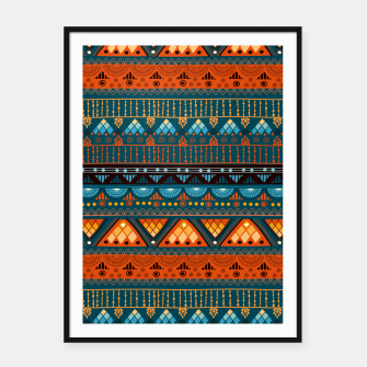 Thumbnail image of Tribal Pattern - 15 Orange Blue Framed poster, Live Heroes