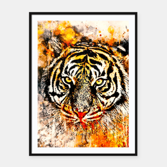 tiger head portrait wsw Framed poster miniature