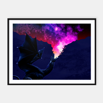 Cosmic Dragon Fantasy Illustration Plakat mit rahmen obraz miniatury