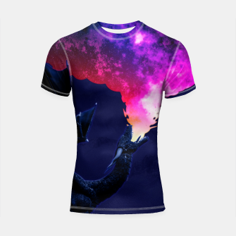 Cosmic Dragon Fantasy Illustration Shortsleeve rashguard obraz miniatury