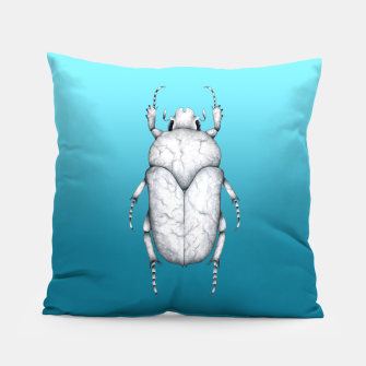 Marble Beetle (Blue Gradient Background) Pillow miniature