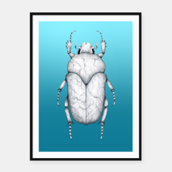 Marble Beetle (Blue Gradient Background) Framed poster miniature