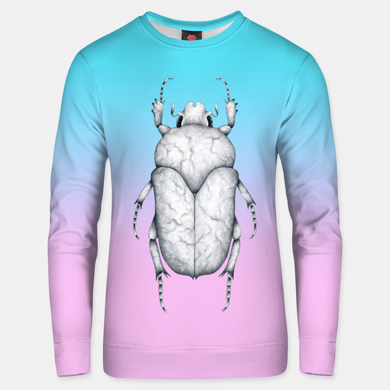Image de Marble Beetle (Pink and Blue Gradient Background) Unisex sweater - Live Heroes