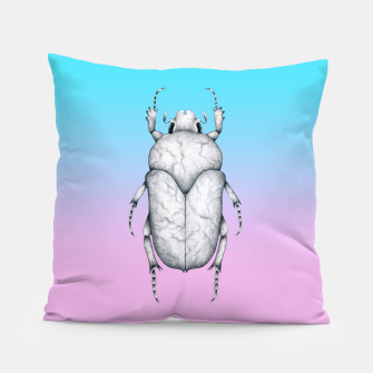 Marble Beetle (Pink and Blue Gradient Background) Pillow miniature