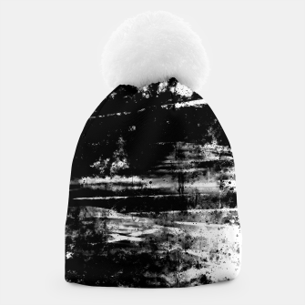 psychedelic sky clouds pattern wsbw Beanie miniature