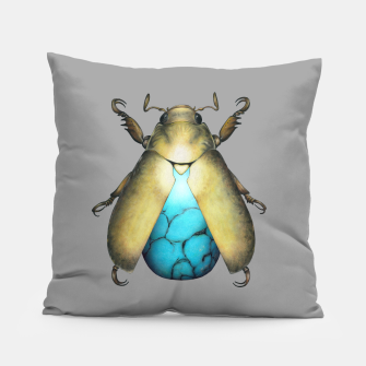 Turquoise Beetle Pillow miniature