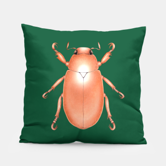 Thumbnail image of Copper Beetle (Green Background) Pillow, Live Heroes