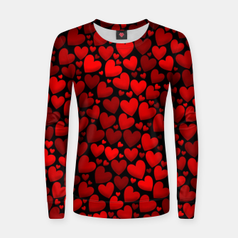 Red hearts pattern Women sweater miniature