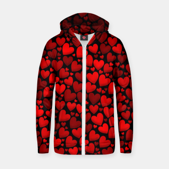Red hearts pattern Zip up hoodie miniature