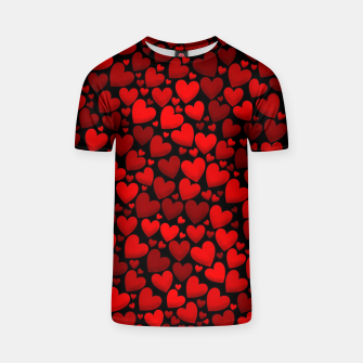 Red hearts pattern T-shirt miniature