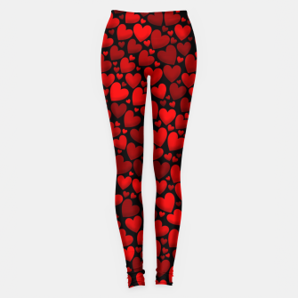 Red hearts pattern Leggings miniature