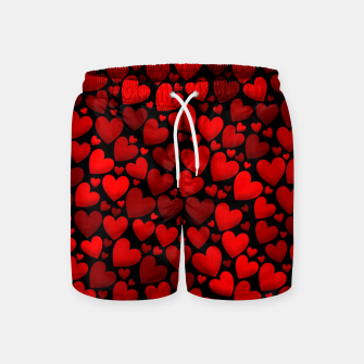Red hearts pattern Swim Shorts miniature