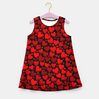 Red hearts pattern Girl's summer dress miniature