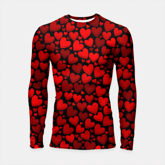 Red hearts pattern Longsleeve rashguard  miniature