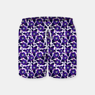 Dark Blooms On White Background Swim Shorts miniature
