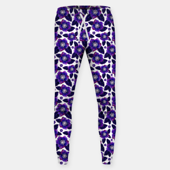 Dark Blooms On White Background Sweatpants miniature