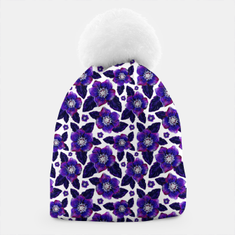 Dark Blooms On White Background Beanie miniature