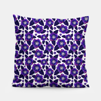Dark Blooms On White Background Pillow miniature
