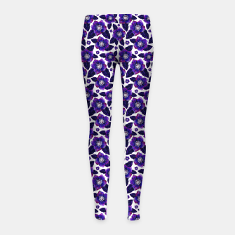 Dark Blooms On White Background Girl's leggings miniature