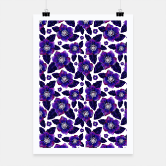 Dark Blooms On White Background Poster miniature