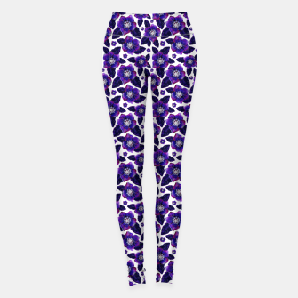Dark Blooms On White Background Leggings miniature