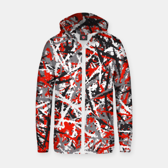 Thumbnail image of Red grunge camouflage Zip up hoodie, Live Heroes