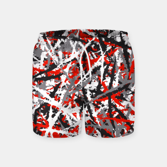 Thumbnail image of Red grunge camouflage Swim Shorts, Live Heroes