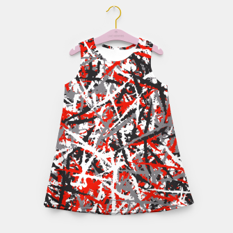 Thumbnail image of Red grunge camouflage Girl's summer dress, Live Heroes