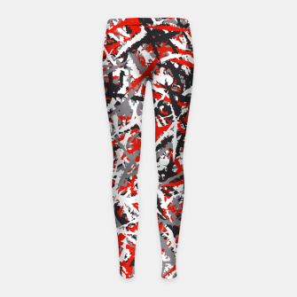 Thumbnail image of Red grunge camouflage Girl's leggings, Live Heroes