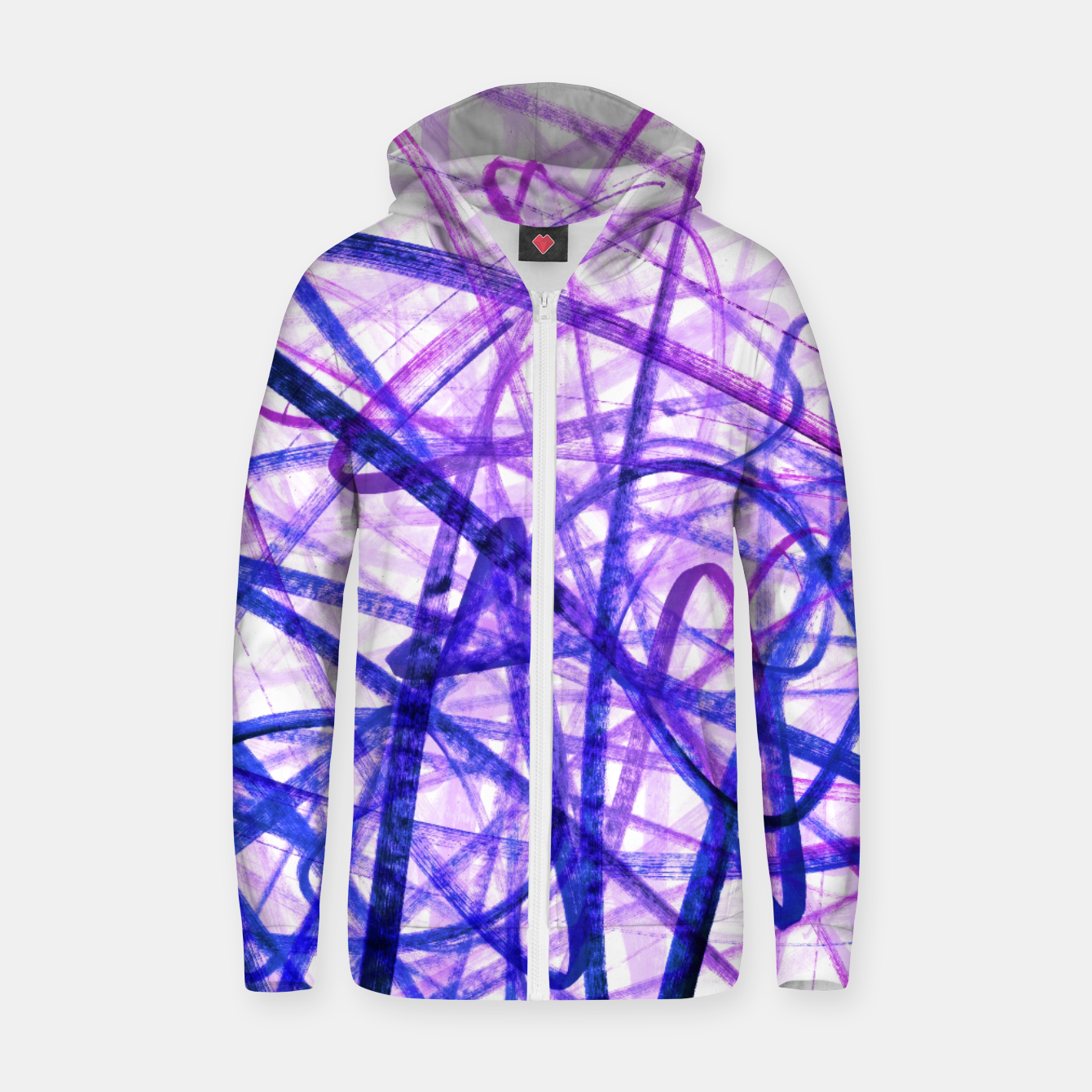 Image of Violet Graffiti Abstract Lines Zip up hoodie - Live Heroes