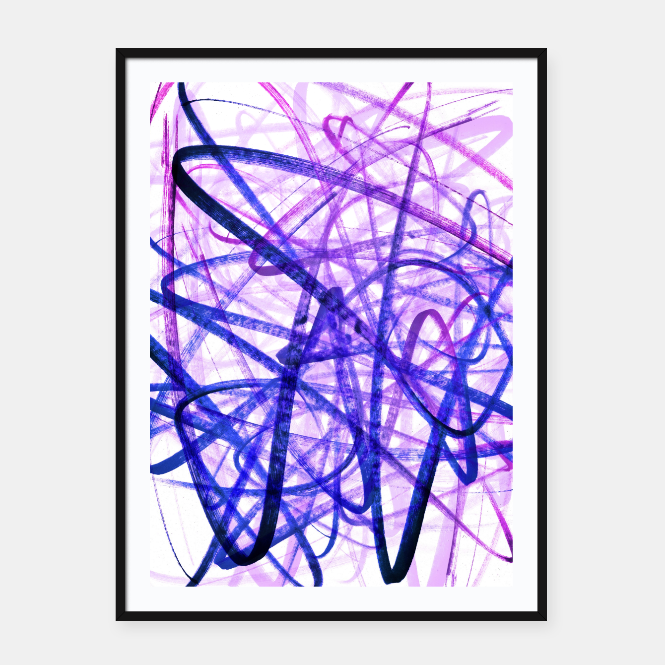 Image of Violet Graffiti Abstract Lines Framed poster - Live Heroes