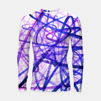 Thumbnail image of Violet Graffiti Abstract Lines Longsleeve rashguard , Live Heroes