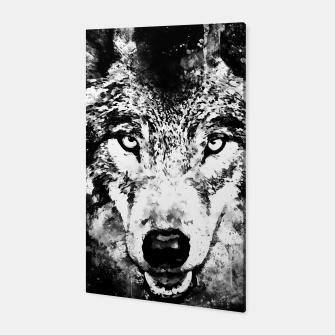 Thumbnail image of wolf threatening stare wsbw Canvas, Live Heroes