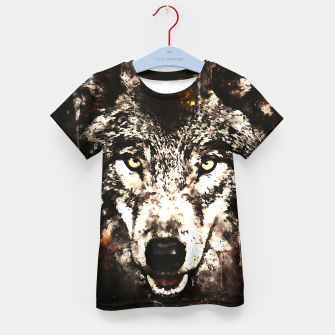 Thumbnail image of wolf threatening stare wsfn Kid's t-shirt, Live Heroes