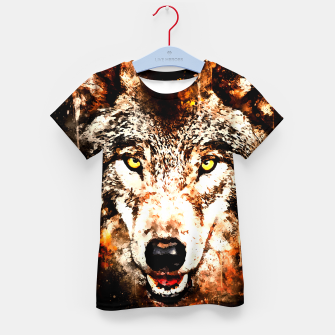 Thumbnail image of wolf threatening stare ws Kid's t-shirt, Live Heroes