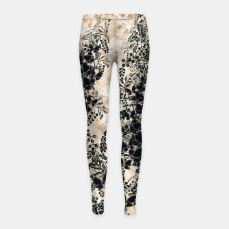 Thumbnail image of Japanese traditional family emblem art Flower and Butterfly white Girl's leggings, Live Heroes