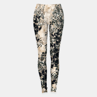 Thumbnail image of Japanese traditional family emblem art Flower and Butterfly white Leggings, Live Heroes