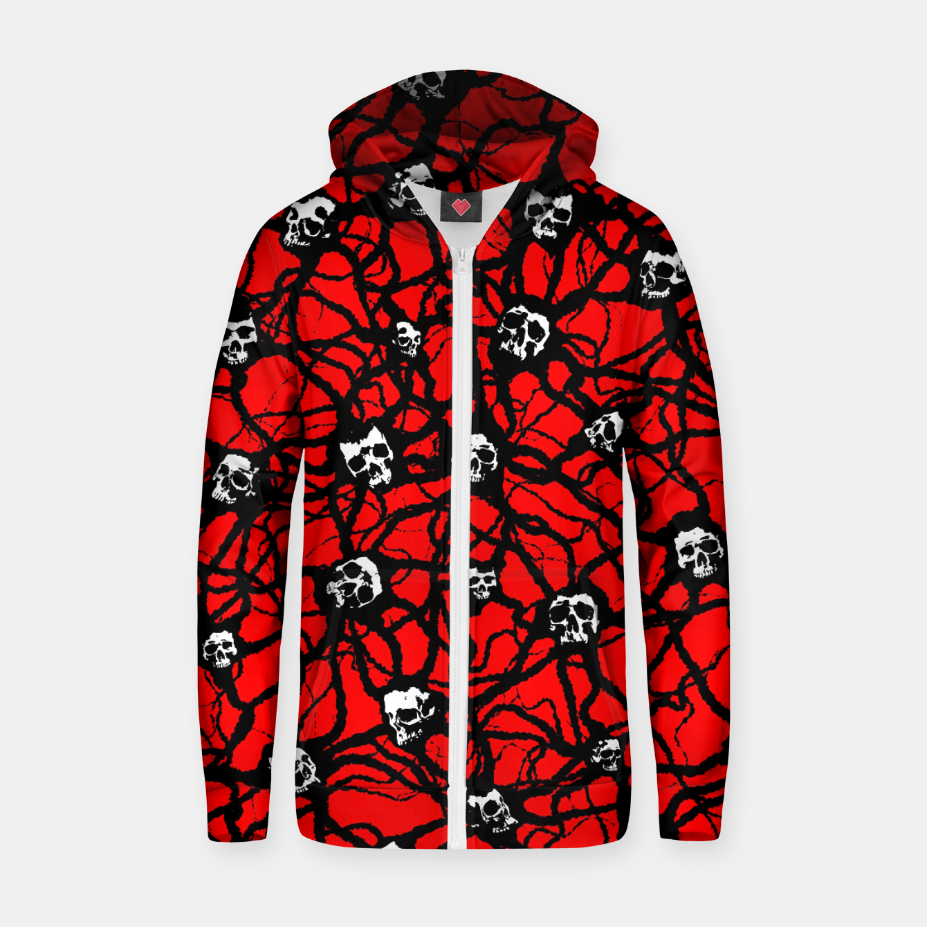 Image of Contagion Gothic Skulls Pattern Zip up hoodie - Live Heroes