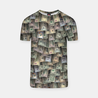 Miniatur US dollars all over cover T-shirt, Live Heroes