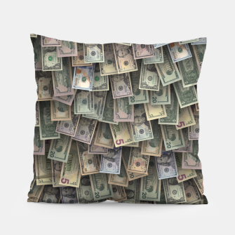 Miniatur US dollars all over cover Pillow, Live Heroes