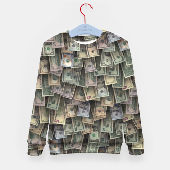 Miniatur US dollars all over cover Kid's sweater, Live Heroes