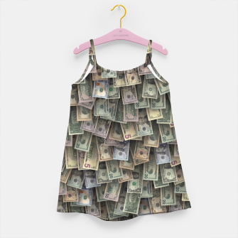 Miniatur US dollars all over cover Girl's dress, Live Heroes