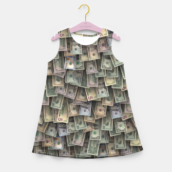 Miniatur US dollars all over cover Girl's summer dress, Live Heroes