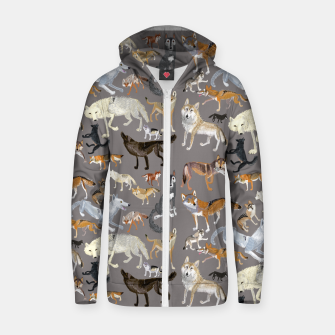 Thumbnail image of Wolves of the world grey pattern Sudadera con capucha y cremallera , Live Heroes